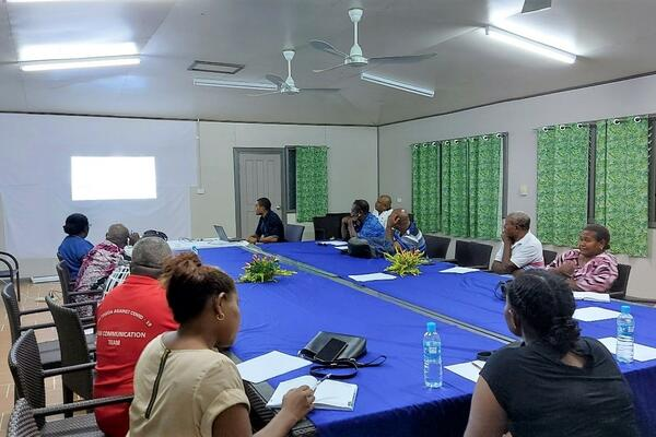 Isabel Provincial Health Director Dr Tony Quity (front) delivering his presentation on status of health system at Isabel and the current challenges.