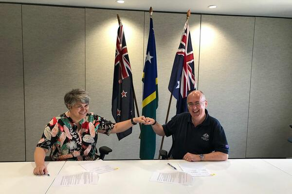 New Zealand High Commissioner Georgina Roberts and Australian High Commissioner Dr. Lachlan Strahan signed a new Delegated Cooperation Arrangement as part of the two countries' Education Partnership with Solomon Islands for 20202023.