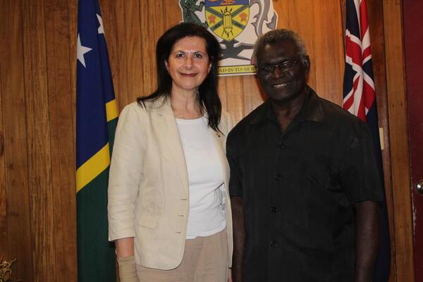 Prime Minister Sogavare and the visiting Australian Senator, Ferriavanti-Wells in Honiara.