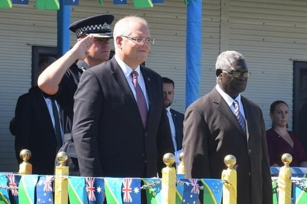 Solomon Islands Prime Minister, Hon. Manasseh Sogavare during the visit of the Prime Minister of Australia, Hon. Scott Morrison at the Rove Police Headquarters yesterday.