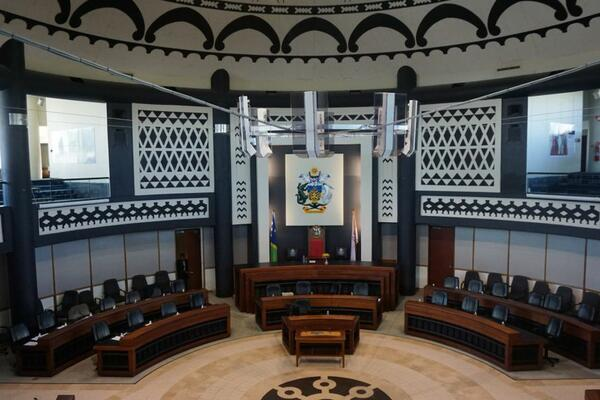 Inside the Solomon Islands parliamentary chambers.
