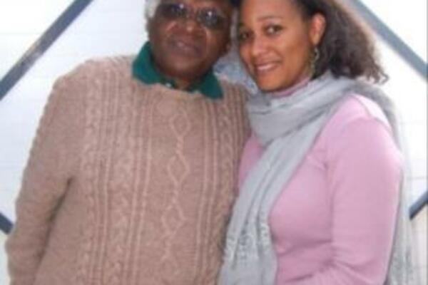 Karen Hayes with the retired Archbishop Desmond Tutu.