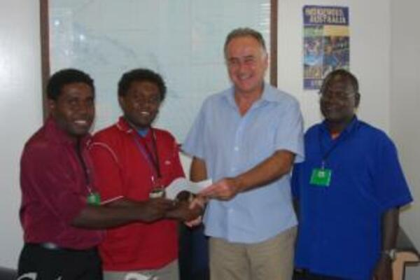 Mr Ingruber presented a cheque for more than SBD30,000 to Vella Ultimate Sports Association Chairman, Mr Tome Ladomea.