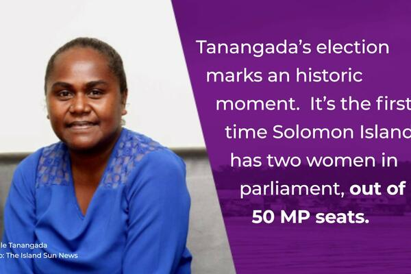 In the Gizo/Kolambangara constituency, Ms. Lanelle Tanangada won a 2018 by-election after her husband Jimson lost the seat in a court challenge.