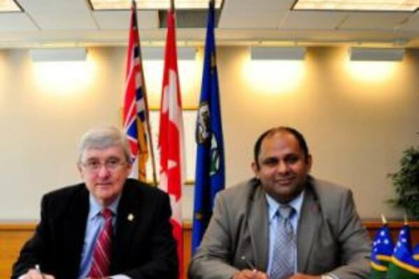 Kwantlen's President and Vice-Chancellor John McKendry and CITREC CEO Ashwant Dwivedi signed the MoU in a ceremony last week.