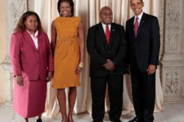 Fred Fono and Mrs. Helen Fono with President Obama and First Lady Michelle Obama during a reception at the Metropolitan Museum in New York.