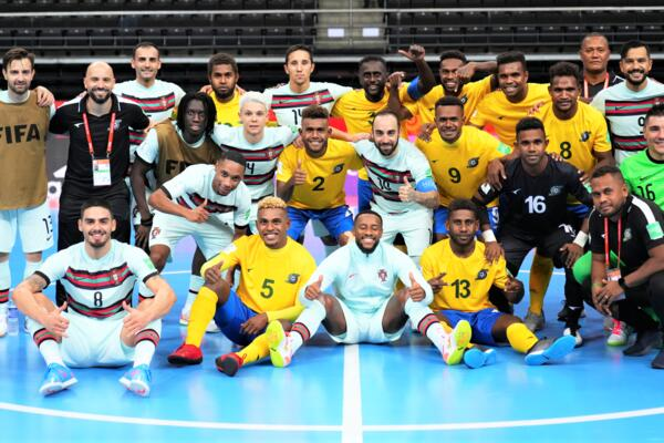 Solomon Islands and Portugal players after their Group C match at the FIFA Futsal World Cup 2021.