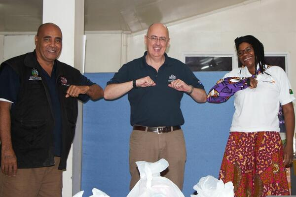 (L-R) Director NDMO Loti Yates, Australian High Commissioner Dr Lachie Strahan and World Vision Operations Manager, Shupayi Mpunga.