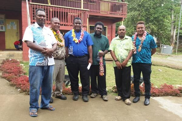 Officials from the Opposition with the Vura School principal and his deputy during the visit last week Friday.