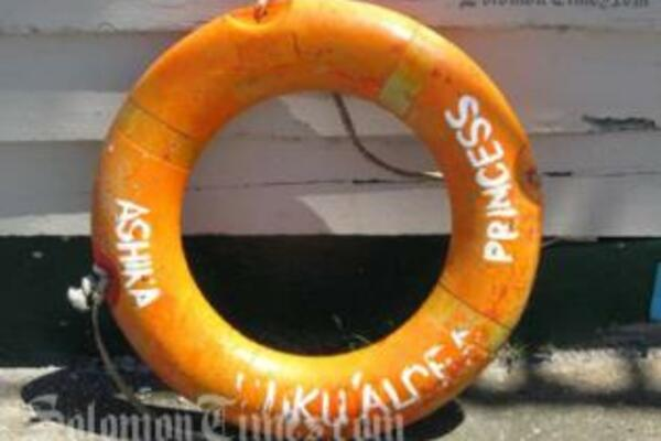 The life buoy from the tragedy-stricken MV Princess Ashika was found floating in Fijian waters.