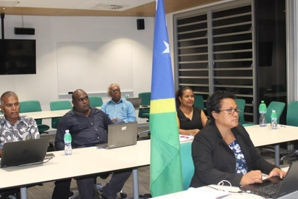 Solomon Islands delegation headed by the Permanent Secretary of the Ministry of Agriculture and Livestock (MAL) Ethel Frances and officials from the Ministry of Fisheries and Marine Resources at the virtual meeting, ICTSU facility.