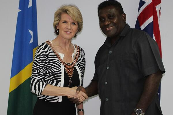 Australia's Foreign Minister, Julie Bishop together with the Solomon Islands Prime Minister, Hon. Gordon Darcy Lilo.