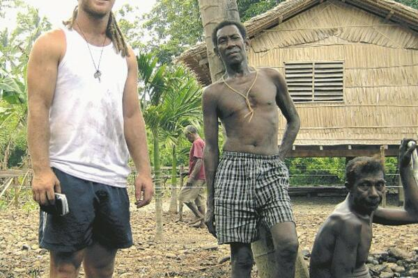 Matthew O'Sullivan from Glenfield (left)has been in the Solomon Islands since mid-June to continue his work building a new church in Makaruka, Guadalcanal.