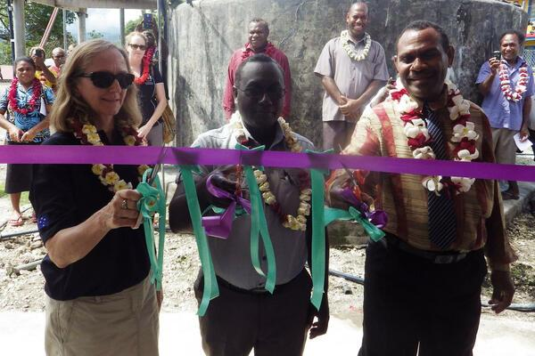 Ribbon cutting by Gina De Pretto, First Secretary Health Australian High Commission, Dr Greg Jilini, Under Secretary Health Care, Ministry of Health and Medical Services and Alfred Dagi, Provincial Minister of Health, Temotu Province.