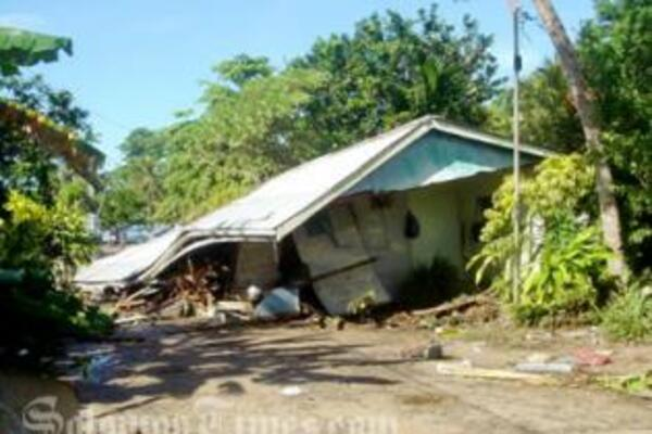 A family home in the Western Province damaged when the earthquake and tsunami hit in April 2, 2007.