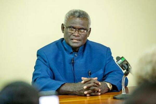 Solomon Islands Prime Minister Manasseh Sogavare speaks at a news conference at Parliament House in Honiara on April 24.