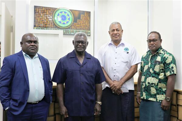 L-R Minister of Finance Hon. Harry Kuma, Prime Minister Hon. Manasseh Sogavare, DBSI Interim CEO Tukana Bovoro and Deputy Prime Minister Hon. Manasseh Maelanga.
