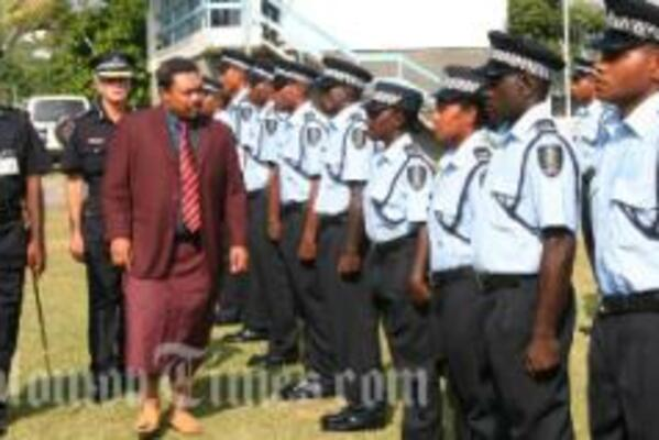 The new recruits, inspected by Honiara City Mayor.
