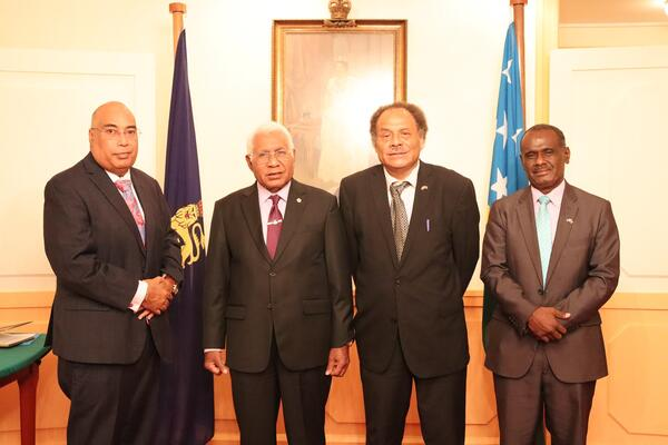 (L-R) Permanent Secretary Collin Beck, Governor General Sir David Vunagi, Ambassador designate John Moffat Fugui and Foreign Affairs Minister Jeremiah Manele during the Commissioning ceremony at Government House.