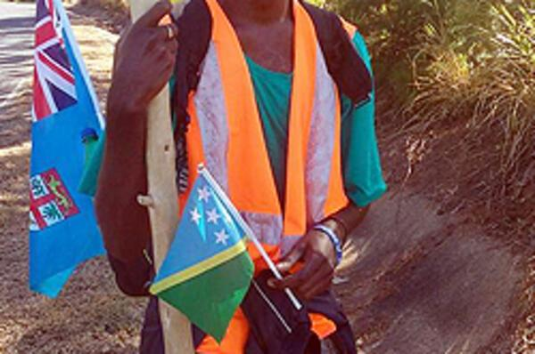Solomon Islands student Randy Chite walked around Viti Levu to support the TC Winston victims.
