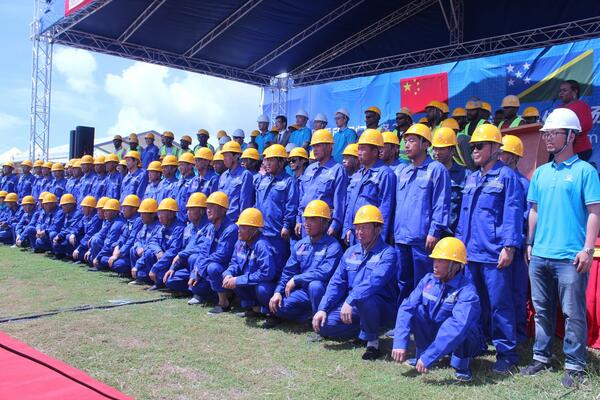 The national stadium workforce during the ground breaking ceremony held recently.