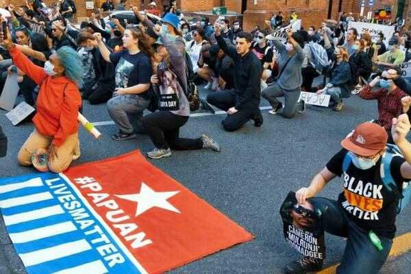 Protesters in Australia during the Free West Papua Campaign.