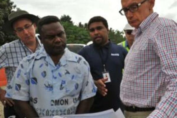 Australia's Foreign Minister, Senator Bob Carr and Mr. Virivolomo of the Solomon Islands Ministry of Infrastructure.