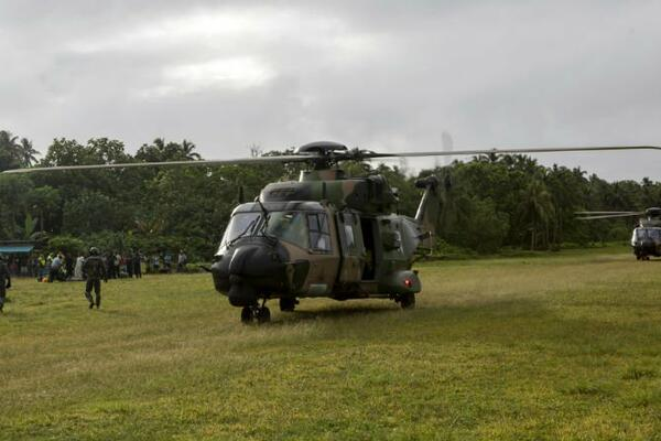 ADF helicopters touch down on Bellona Island.