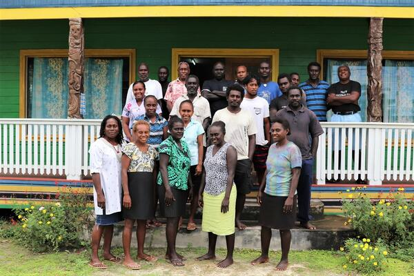 Group photo of UNDP, National Youth Congress and Ministry of Women, Youth, Children and Family Affairs representatives with young leaders at one-week revitalization programme in Choiseul Province.