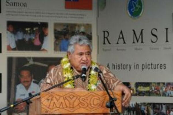 The exhibition was officially opened by Samoan Prime Minister, Tuilaepa Lupesoliai Sailele Malielegaoi, who said RAMSI was one of the Pacific region's biggest achievements, and one that he was proud S