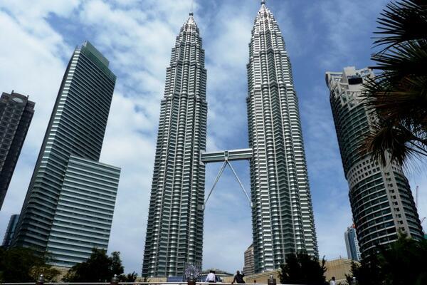 The iconic PETRONAS Twin Towers in Kuala Lumpur, Malaysia.