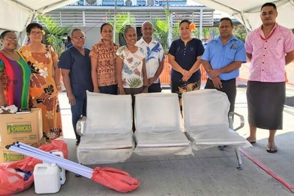 The SI Samoa Community members met with the NRH Chief Executive Officer, Dr. George Malefoasi and his team at the Hospital's car park, to hand over the donated items.