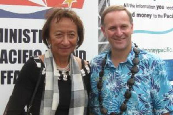 Honorable John Key, Prime Minister of New Zealand, and the Honorable Georgina te Heuheu, Pacific Island Affairs Minister, visit the SendMoneyPacific Stand during Pasifika Festival, 13th March 2010