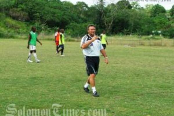 Jim Selby at the training pitch in Honiara.