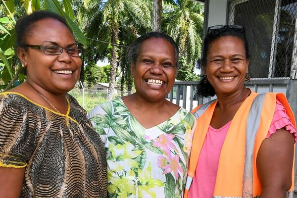 Ruth Maetala (centre) who runs the Waka Mere program with Regina Pokana (L), Sustainability and Quality Manager, GPPOL with another employee at Guadalcanal Plains Palm Oil Limited (GPPOL). GPPOL is one of the Waka Mere participating companies.