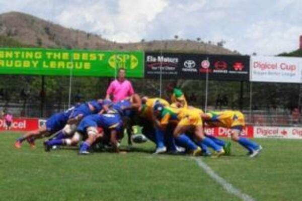 Solomon Islands packing down against Niue at the recent Oceania Rugby Union Cup.