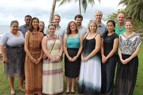 Pictured are the new Australian volunteers with the Australian High Commissioner Matt Anderson and AusAID's Kenndy Folasi.