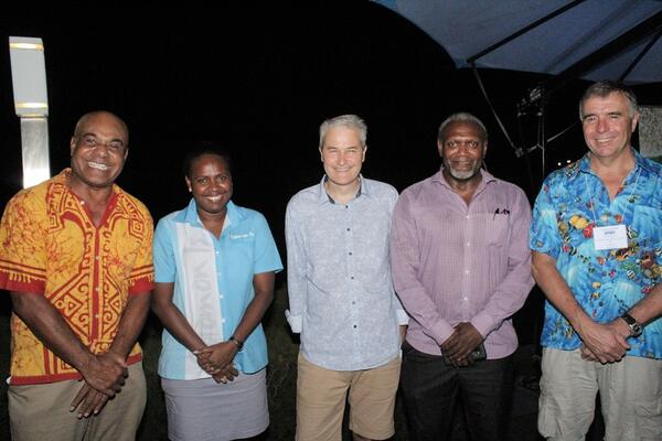 Pictured (from left) Tourism Solomons CEO, Josefa Tuamoto; Tourism Solomons senior marketing officer, Fiona Teama; Diveplanit director, Simon Mallender; Ministry of Culture Permanent Secretary, Andrew Nihopara, and SPUMS president, Professor David Smart.