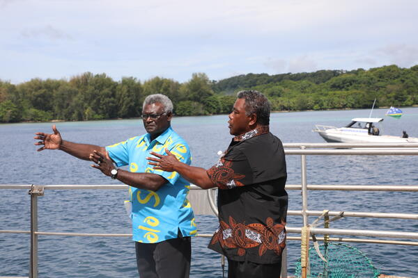 PM Sogavare and MP for Shortlands Hon Chris Laore during the PMs visit to Shortlands in February this year.