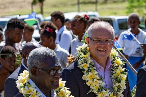 Solomon Islands Prime Minister Manasseh Sogavare and Australia's Prime Minister Scott Morrison during his recent visit.