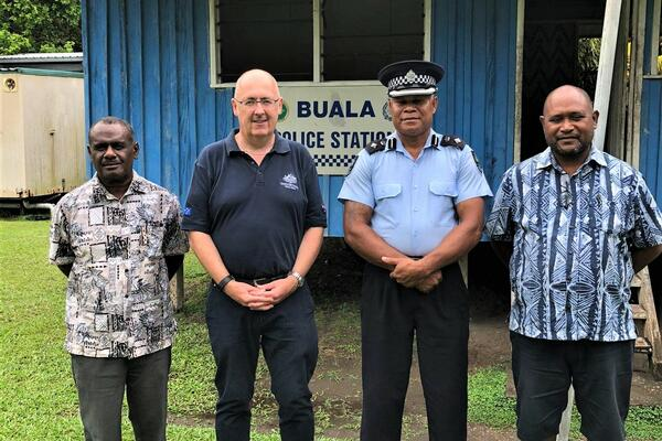 (L-R) Foreign Affairs Minister Jeremiah Manele, Australian High Commissioner Dr Lachlan Strahan, Provincial Police Commander Leonard Tahimana and Health Minister Dr Culwick Togamana.