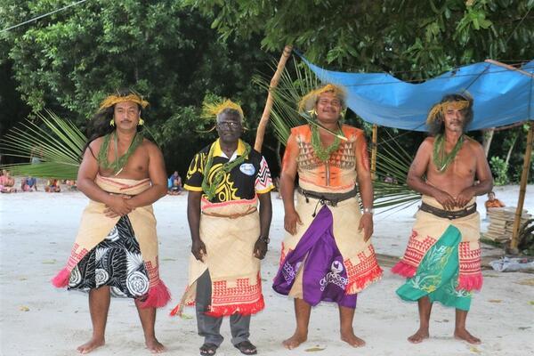 Prime Minister Sogavare and the three Chiefs (Nga-riki) of Tikopia.