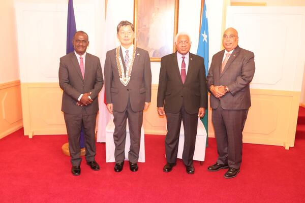 Governor General and Japanese Ambassador flanked by Foreign Affairs and External Trade Hon. Jeremiah Manele and Permanent Secretary Collin Beck.