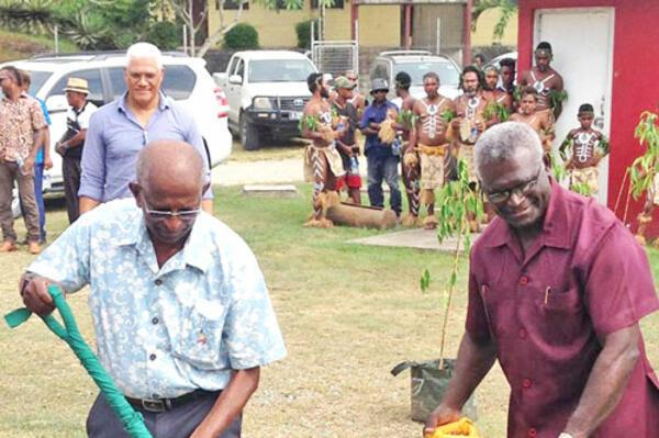 Pacific Games Council president Mr. Vidhya Lakhan (L) joins Solomon Islands Prime Minister, Hon. Manasseh Sogavare in the groundbreaking ceremony of the Solomon Islands Sports & Leadership Institute in Honiara last week. (Pacific Games Council)