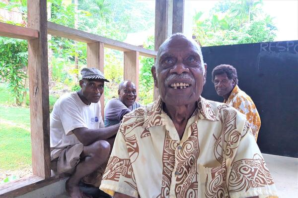 Village elder Francis Ibi of Riva community in South Guadalcanal.