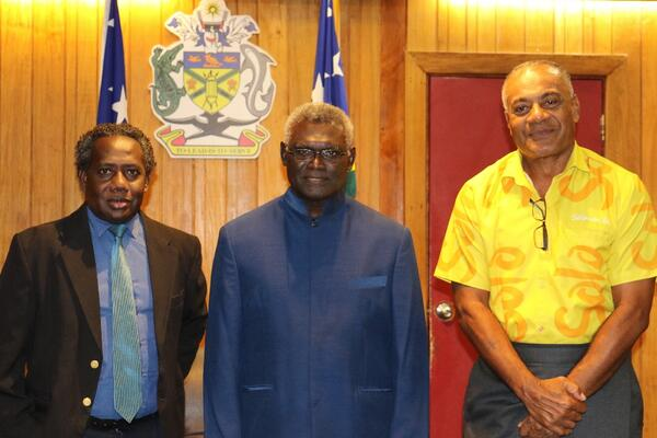 Chris Hapa Chairman Tourism Solomons, PM Sogavare and CEO Tourism Solomons Josefa Tuamoto.