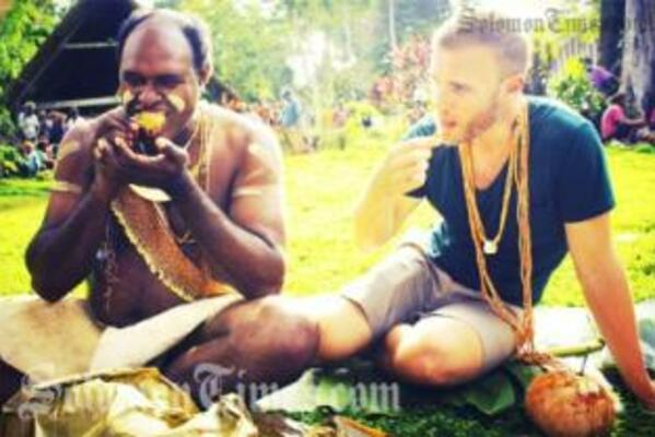 Gary Barlow on a traditional experience with the Solomon Islands Member of Parliament for West Are Are, Hon. John Maneniaru.