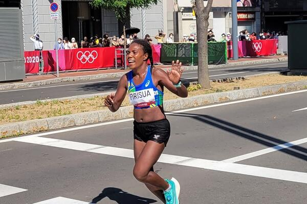 Sharon Firisua competing in the recent Tokyo Olympic games.