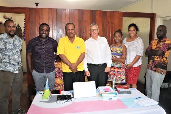 Malaita Premier Daniel Suidani, Permanent Secretary of MJLA Dr. Paul Mae and the A2J team.