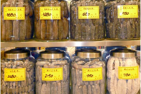 High value tropical beche-de-mer on sale in jars in Hong Kong.